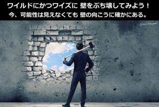 ワイルドにかつワイズに壁をぶち壊してみよう!今、可能性は見えなくても壁の向こうに確かにある。